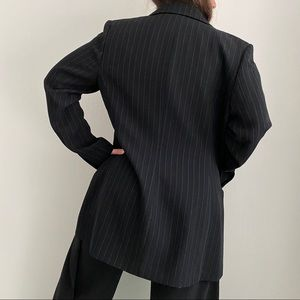 Black Jacket with pale blue pinstripes
